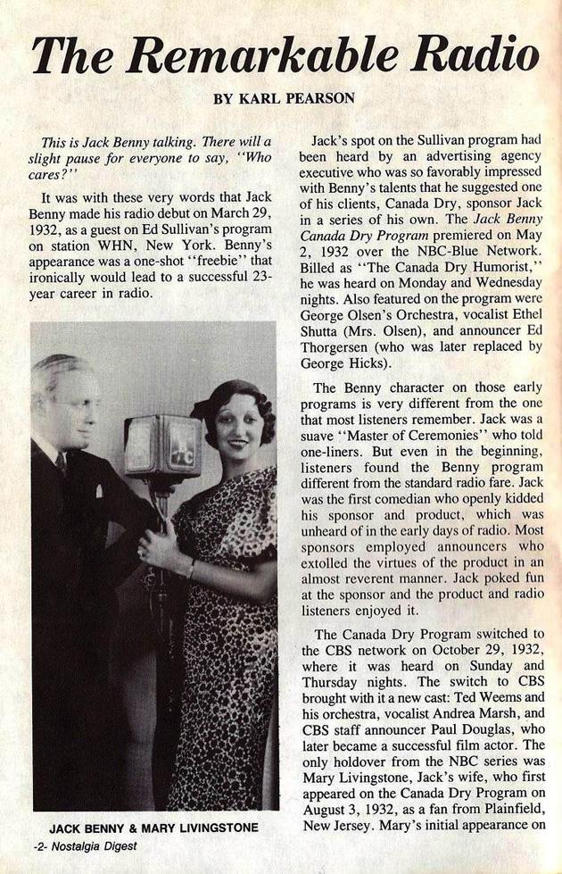 Radio Career Of Jack Benny