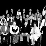 "This is the official cast photo of the Those Were The Days Radio Players who performed the script by Ken Alexander, ""A Surprise for Jack.""  Camera shy Ken is hidden in the third row, just behind and between John Sebert and Harry Volkman. Director Jim Sobczak is at the far right in the photo. Photos by Margaret Warren."