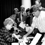 Radio's Orphan Annie signs autographs for the studio audience following her appearance.Photos by Margaret Warren.